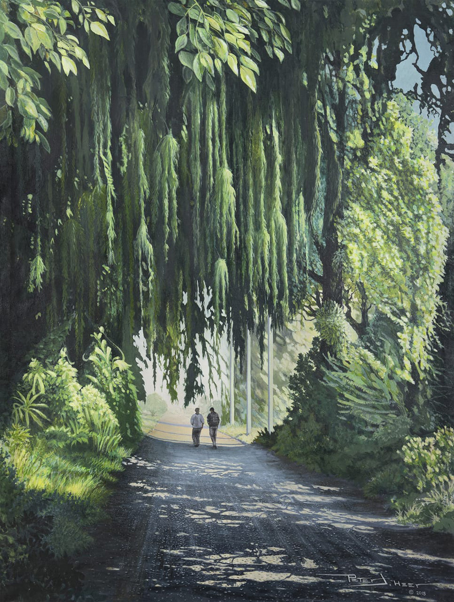 Painting depicting a brick path lined with green trees and hanging moss, and two figures walking in the middle distance