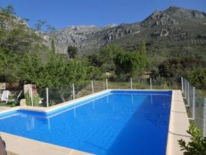 The swimming pool at our Cortijo, Sierra Magina, Spain