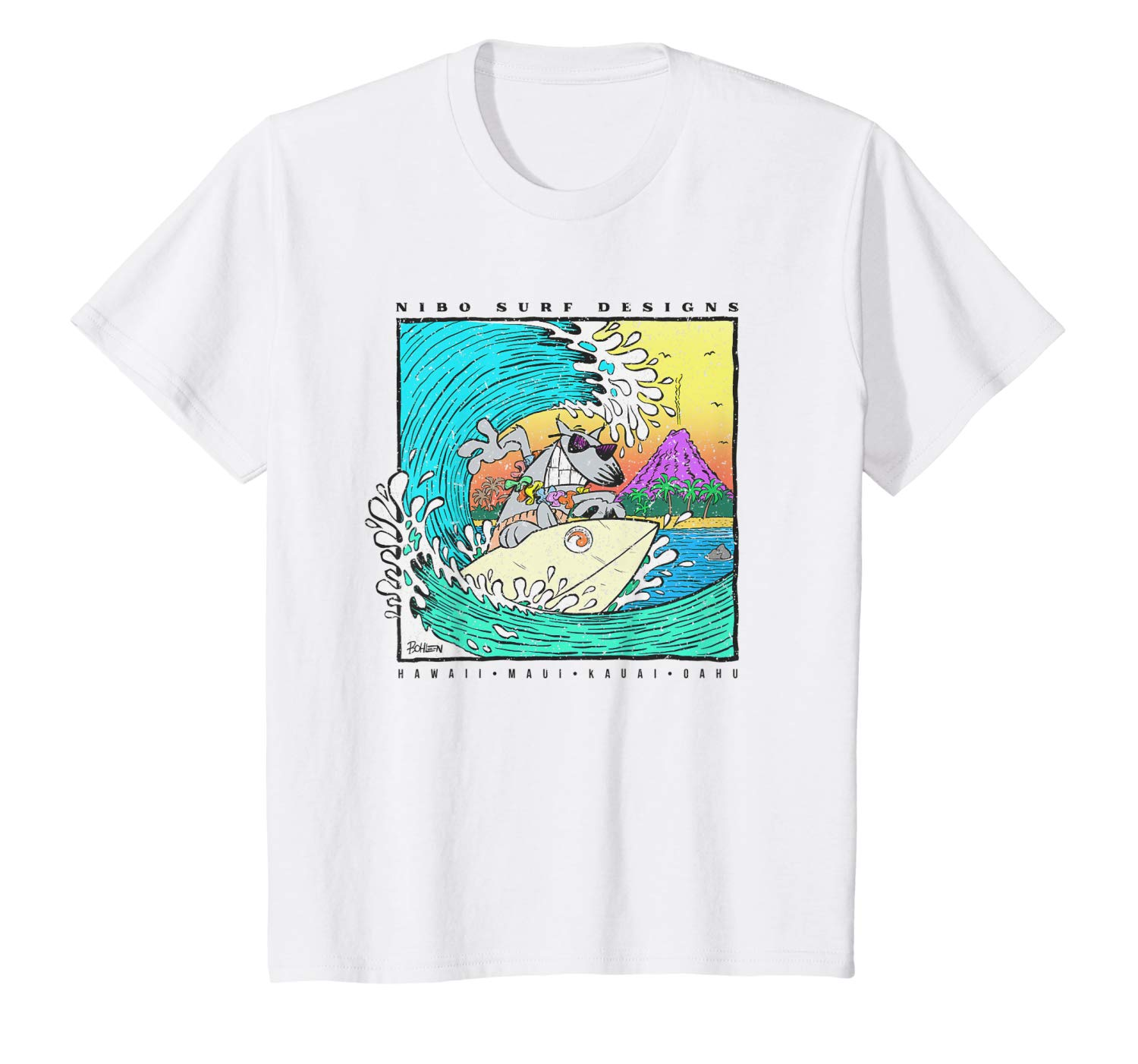 T-Shirt: Kinder Ride the Wave Hawaii Maui Surf Design Illustration T-Shirt