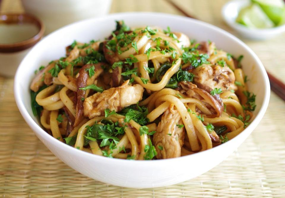Japanese Rice Pasta with Chicken and Miso Sauce