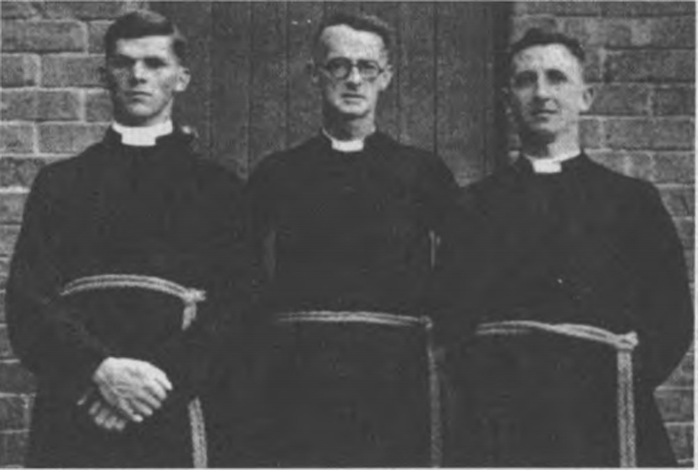 This is a  black and white photo of the founders of the Brotherhood of St. Laurence. From left to right, they are Michael Clarke, Gerard Tucker and Guy Cox at St Cuthbert's in East Brunswick in 1936.