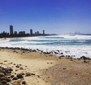Beyond the sparkling waters lies the skyline of Surfers Paradise