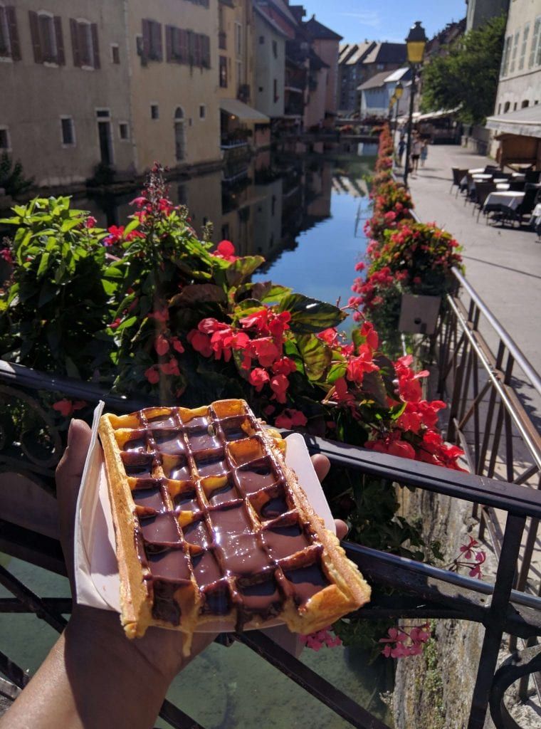The Best Chocolate Waffle in Annecy Near the Palais de l'Ile