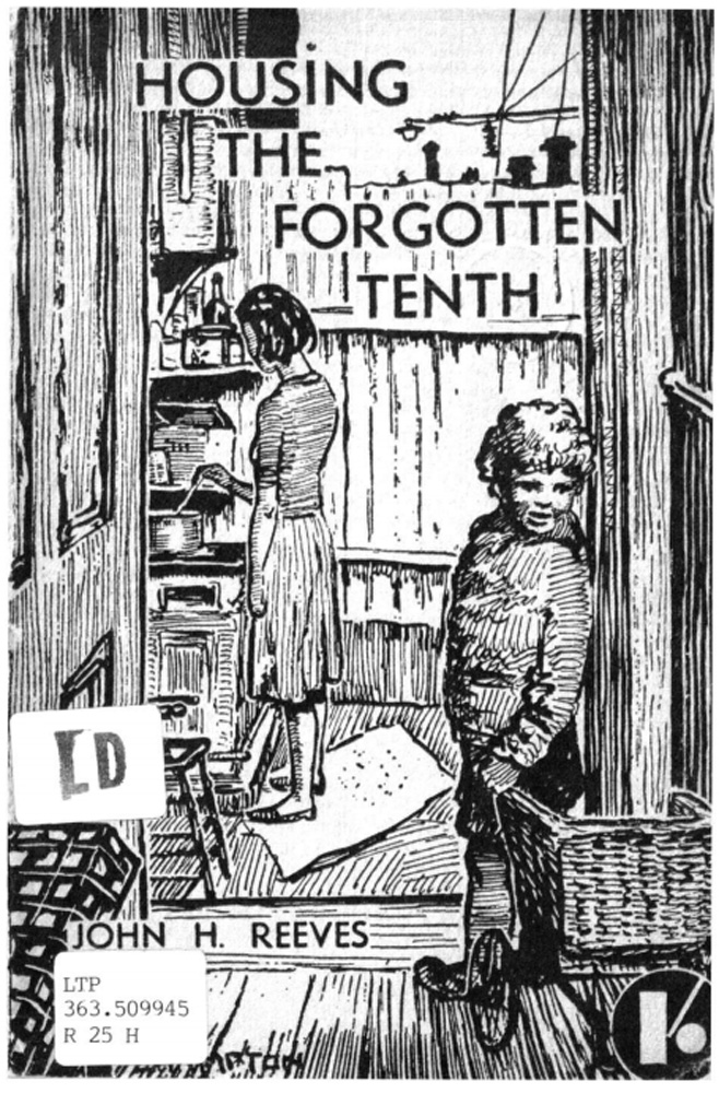 This is an illustration of a household in the 1940s with a mother cooking in the kitchen and a child playing with a wagon. The illustration is a covere of a report called Housing the Forgotten Tenth.