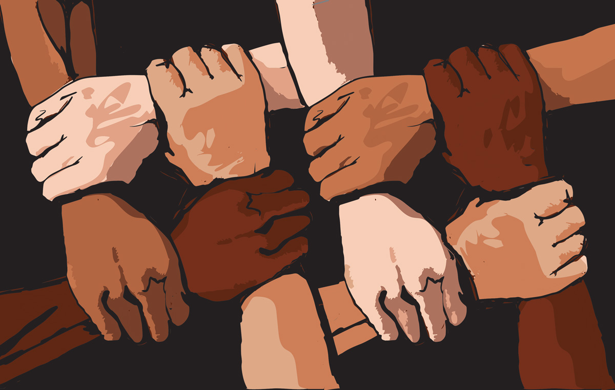 Illustration of hands of various skin tones holding the wrists perpendicular to them, forming a lattice