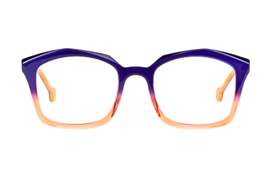Lunettes de vue Indiana - 192, l.a. Eyeworks, Carrée Rectangle, de couleur Orange Violet.