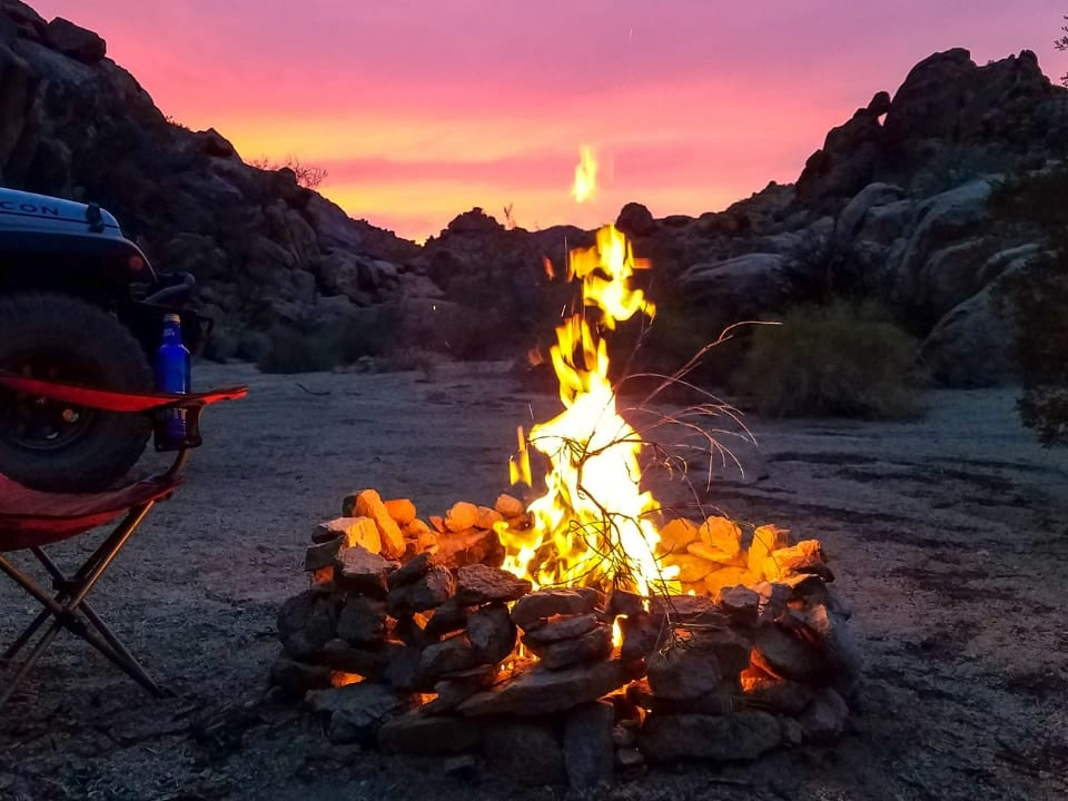large bon fire in desert
