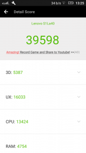 Screenshot of the AnTuTu benchmark results of the Lenovo Vibe S1 Lite