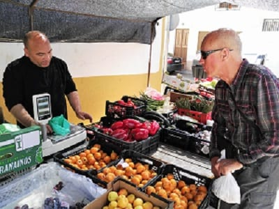 Buying fruit at a small rural town just out of the Sierra Magina area on the way to Capo de Gata, Spain