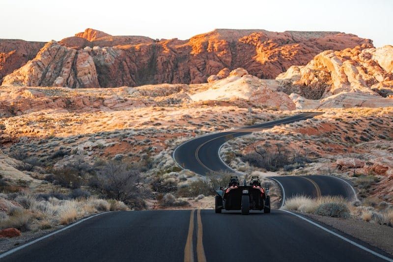 Slingshot driving to the Valley of Fire in Las Vegas Nevada