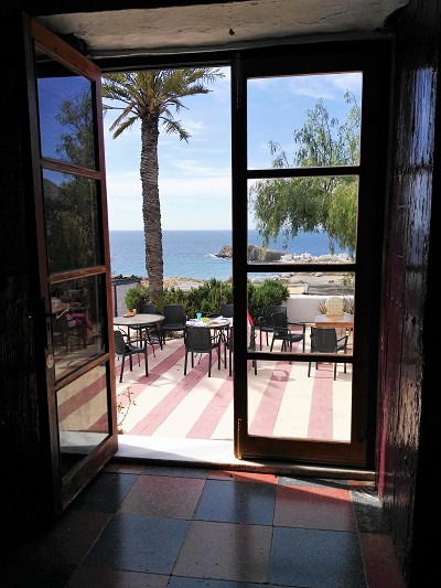 The view from the entrance of Casa Cafe La Loma, Cabo de Gata, Spain