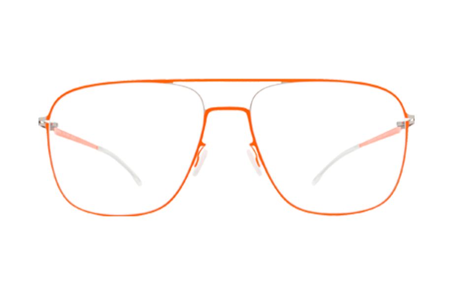 Lunettes de vue Steen - SILVER-NEON-ORANGE, Mykita, Pilote Rectangle, de couleur Orange .