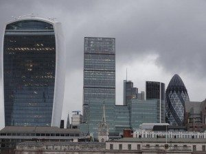 Skyscrapers in London: on the left is the 20 Fenchurch building, and all the way on the right, the 30 St Mary Axe