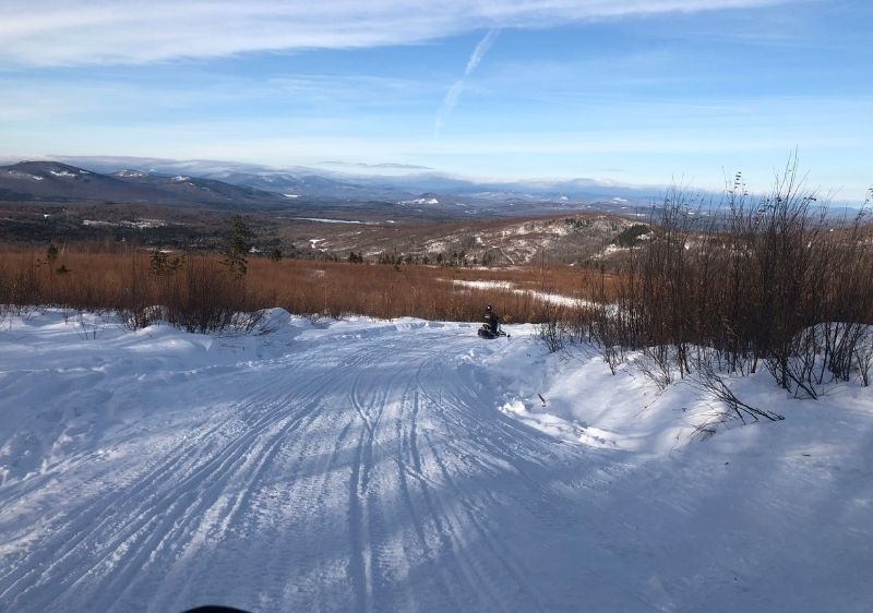 snowmobile trails with scenic mountainview