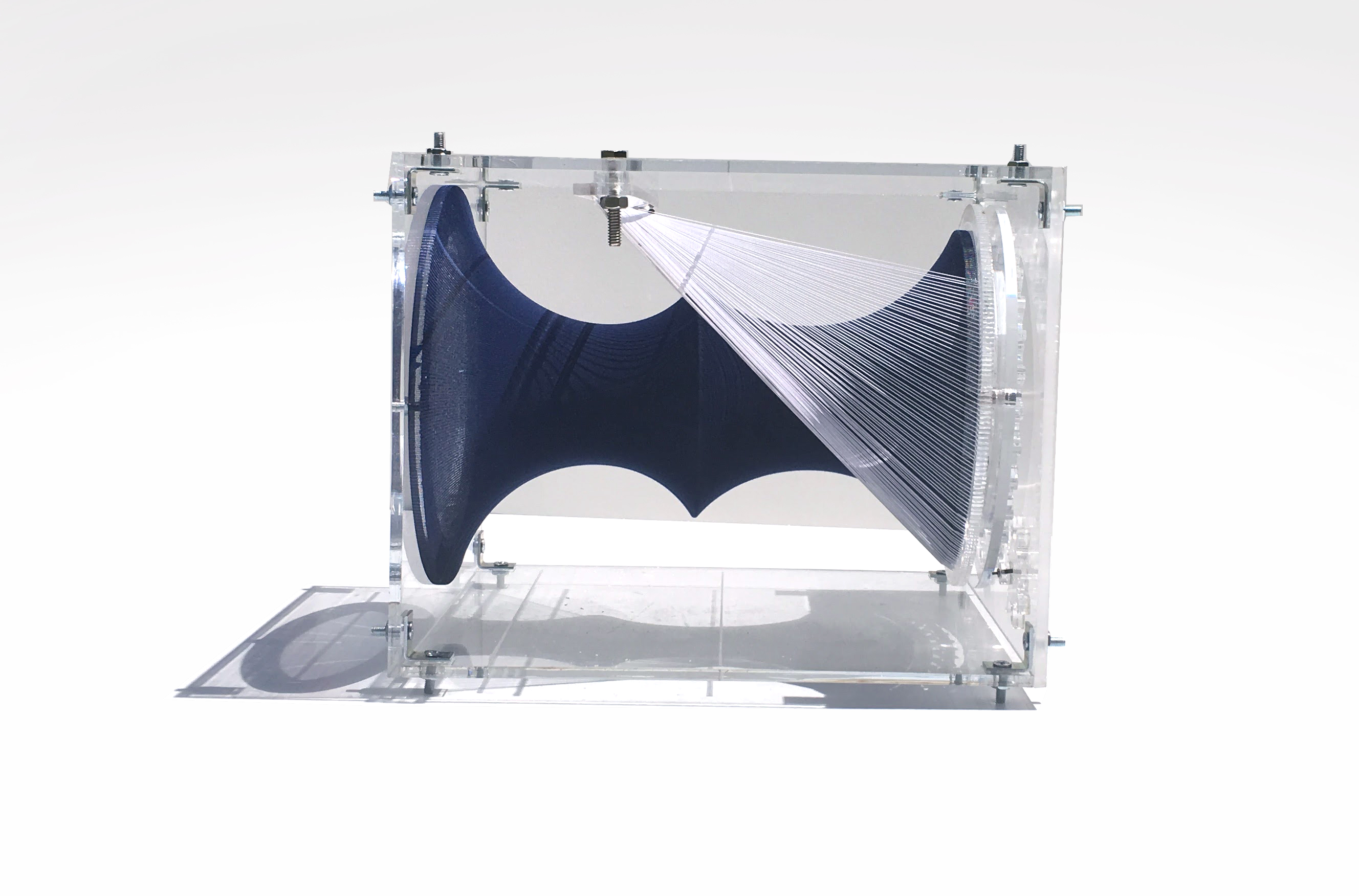 constructed acrylic box holding a textile form in tension
