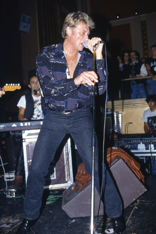 Johnny Hallyday au Palace le 23 septembre 1990.