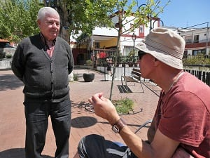 Manfred chatting to a local man in the village of Belmez de Moraleda