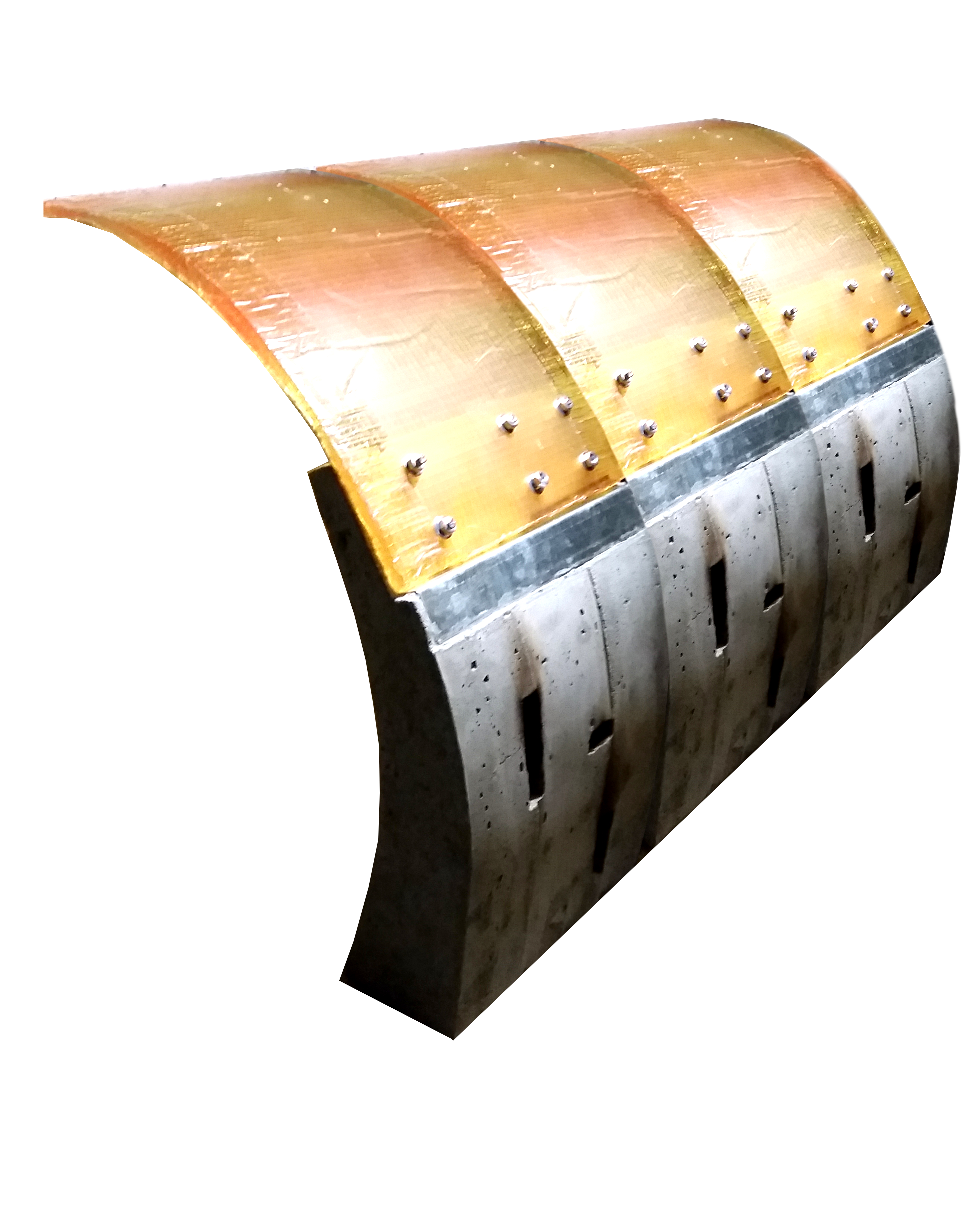 material assemblage of concrete metal flashing and resin sheet
