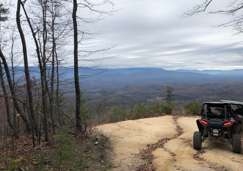Polaris-RZRs-parked-by-a-scenic-overlook-of-the-Smoky-Mountains