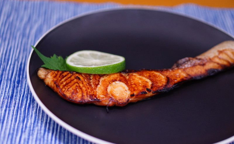 Grilled Salmon with Yuan-sauce