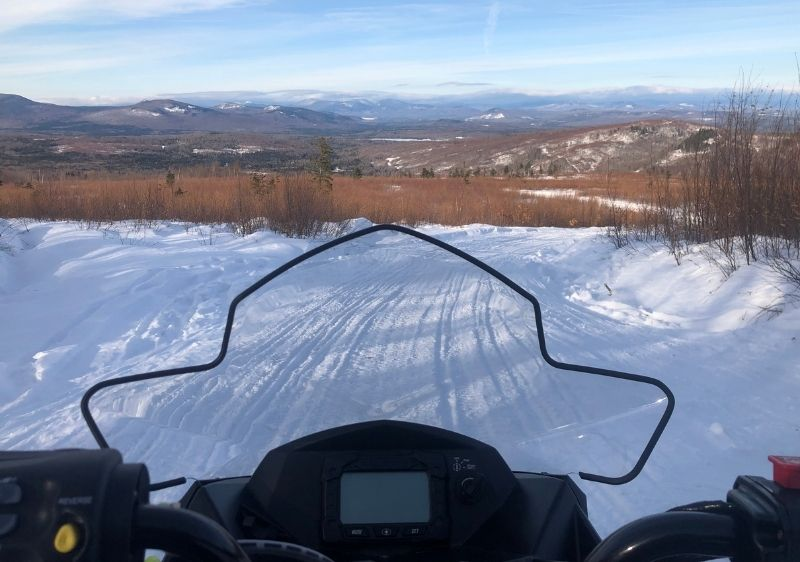 driver view on snowmobile