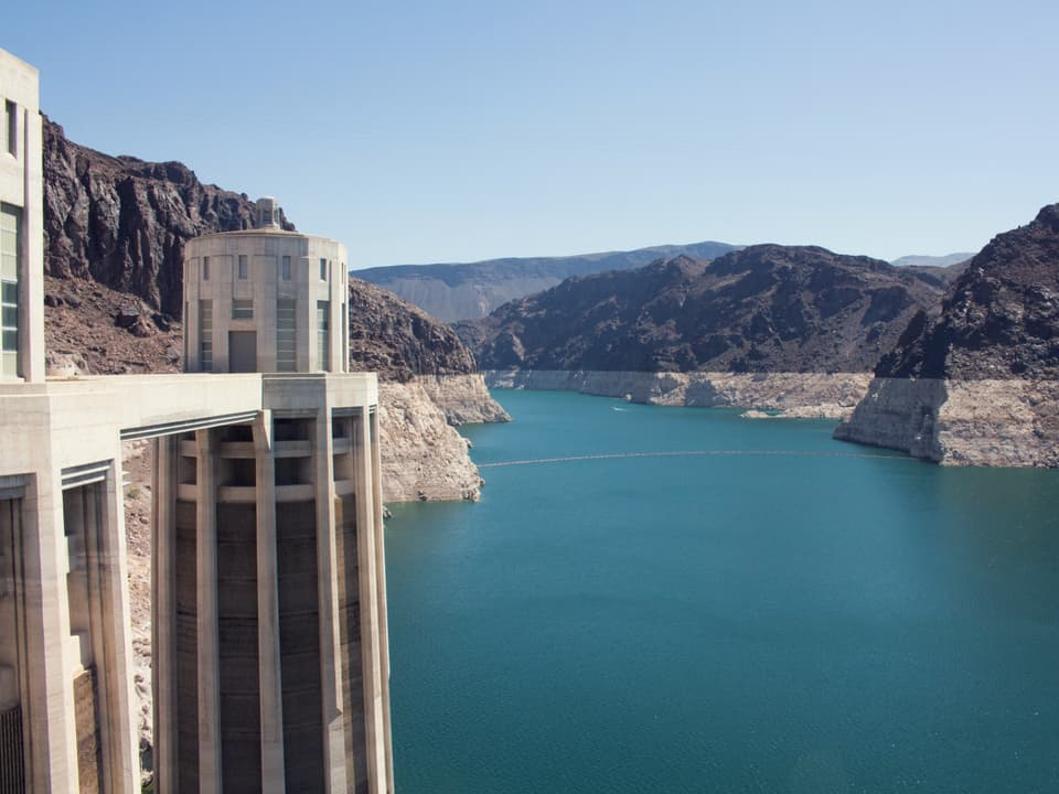 blue water by Hoover Dam