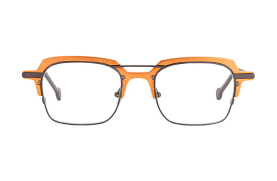 Lunettes de vue Corgi - 530544, l.a. Eyeworks, Carrée Rectangle, de couleur Orange Gris.