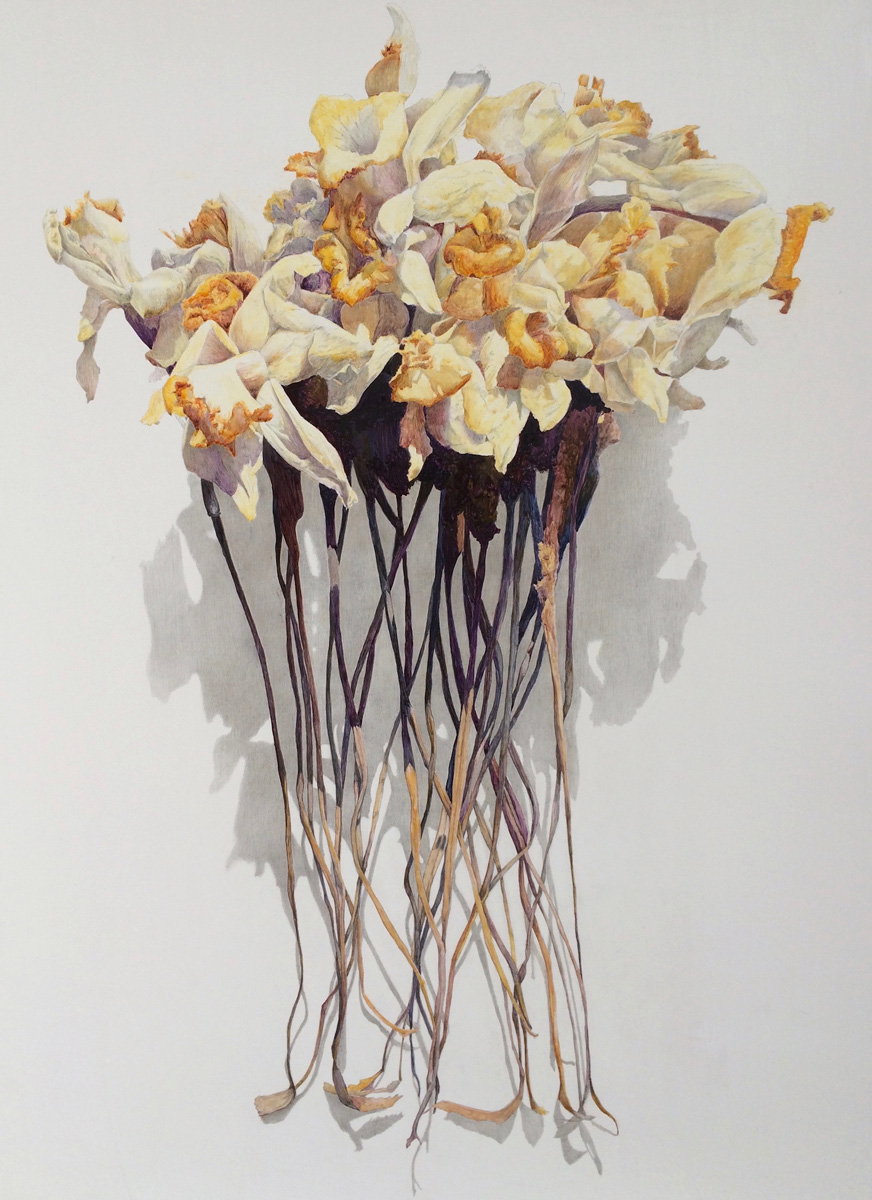 Painting of dried white-and-yellow flowers with petals curled, atop crisp gray and brown stems