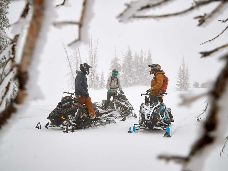 group of guests on snowmobiles talking