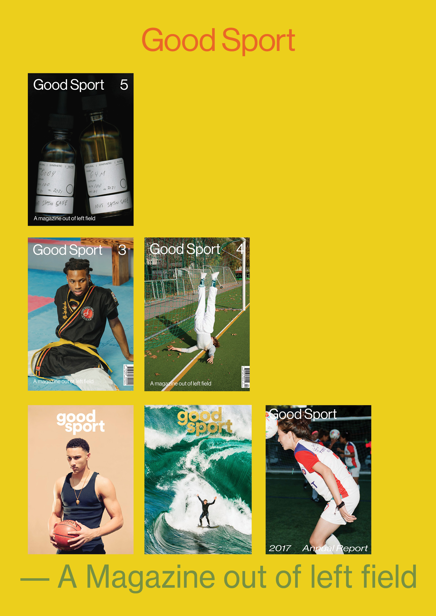 Yellow background with Good Sport logo featuring six covers of Good Sport Magazine