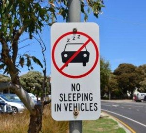 no sleeping in cars in the surf coast shire!