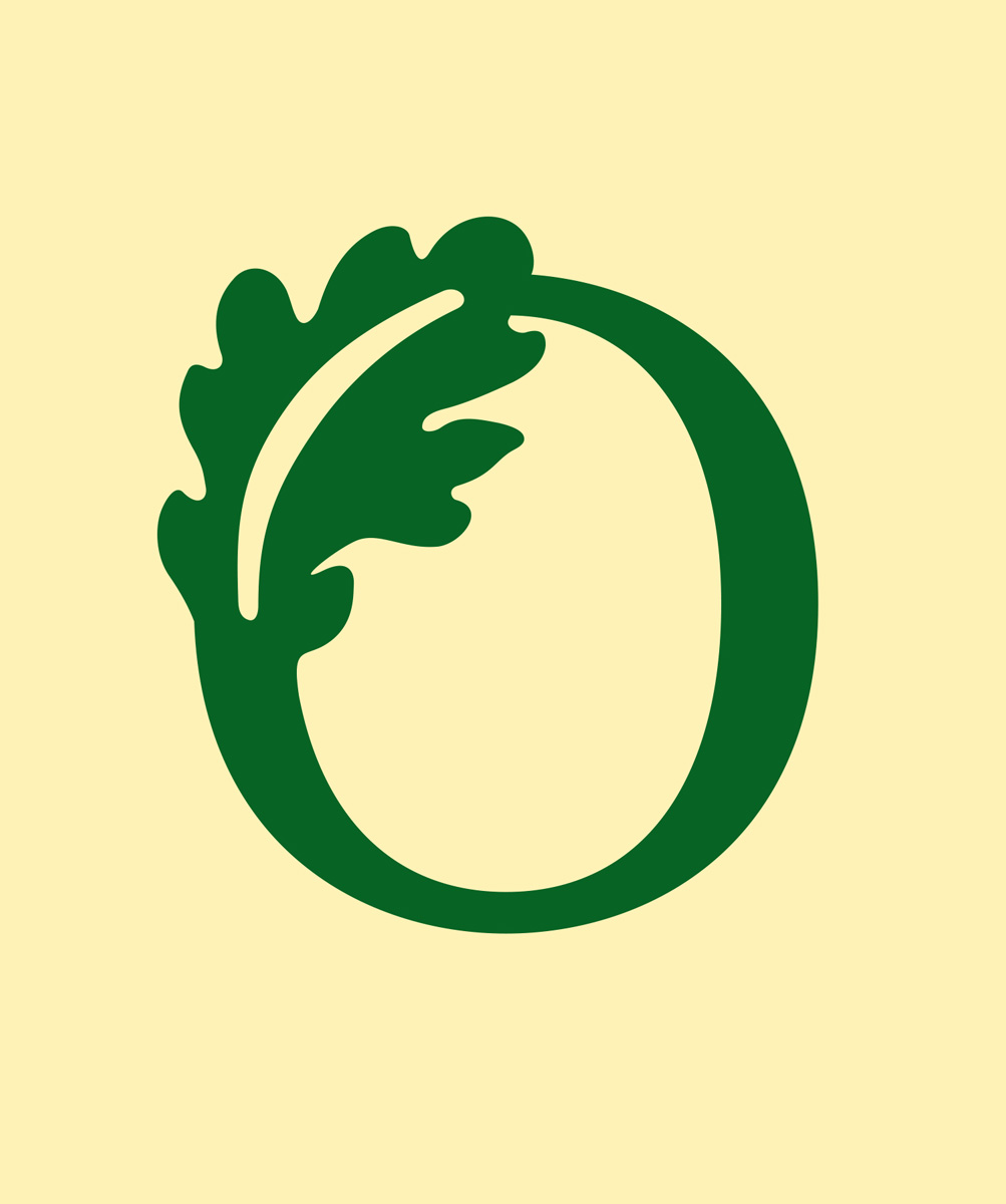 Logo for Oakwood School, a deep green letter O ornamented with graphic oak leaf on neutral yellow background