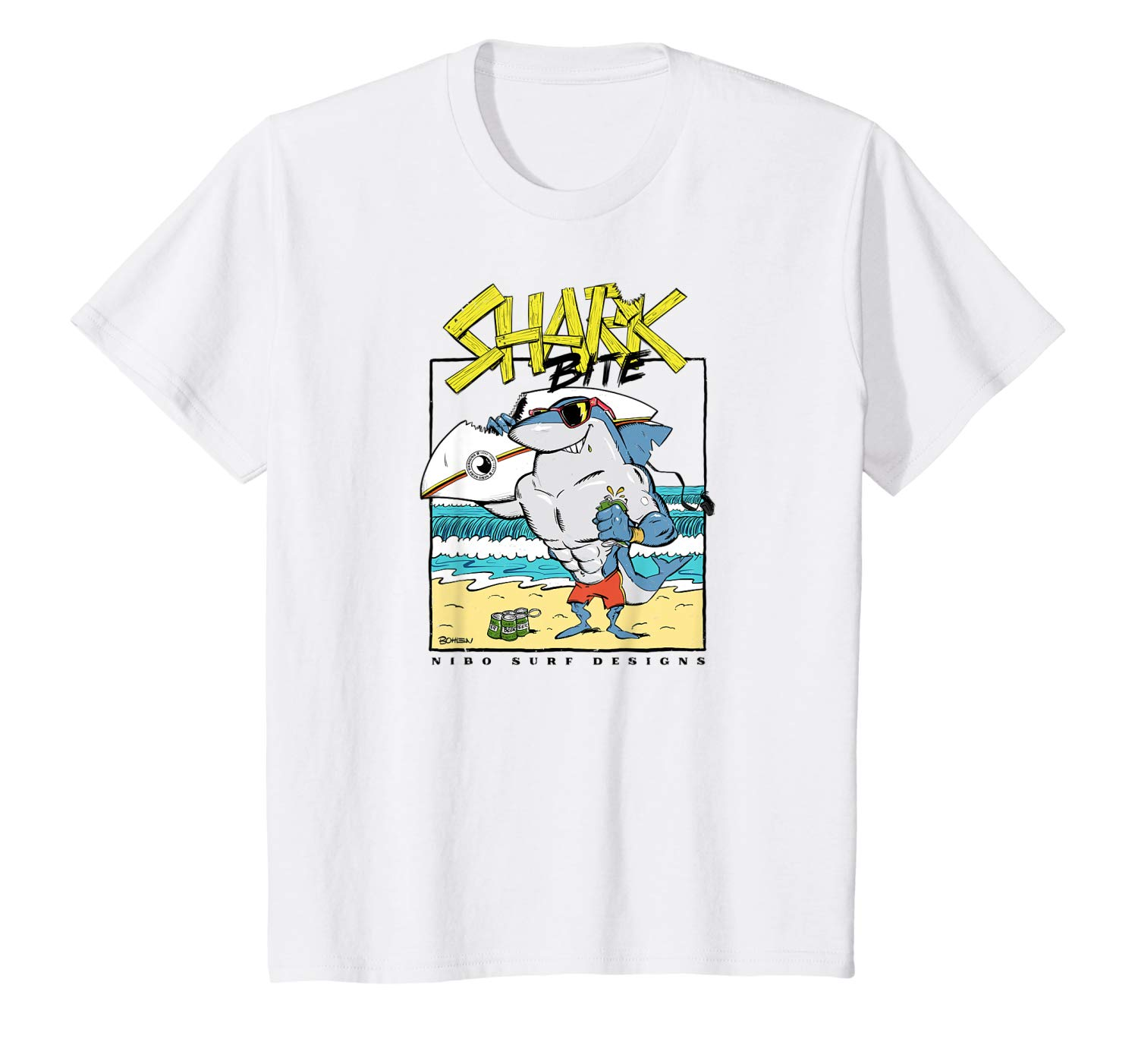 T-Shirt: Kinder Shark Bite Character Hawaii Maui Surf Design