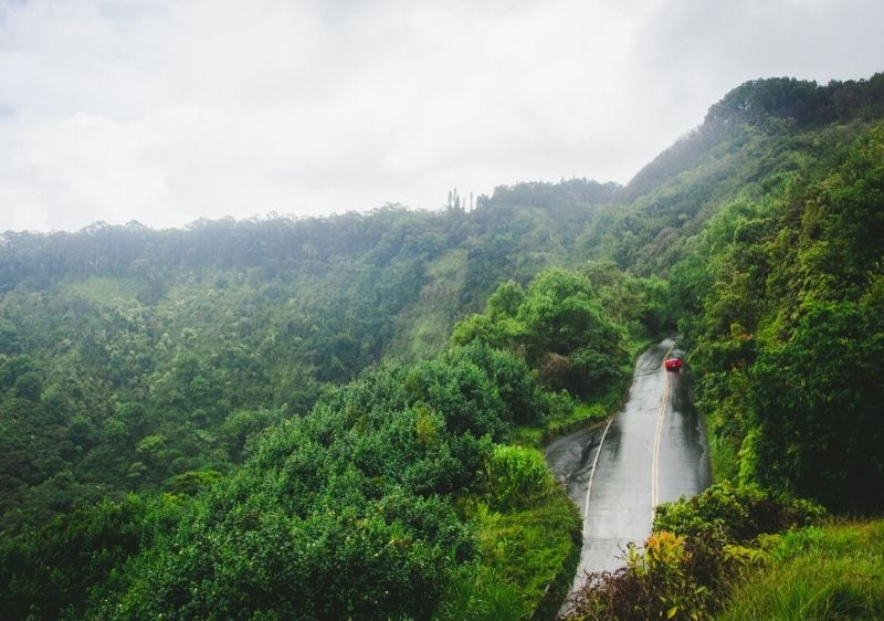 aerial view of road to Hana