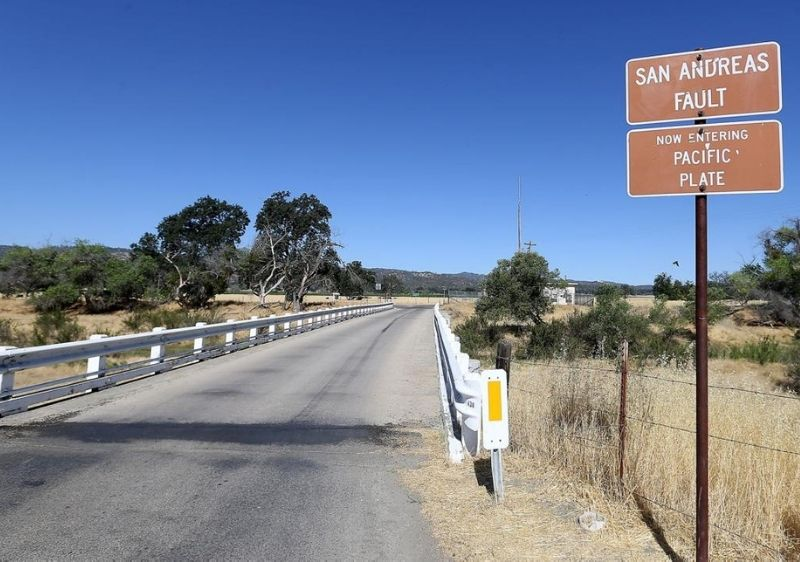 San Andreas fault sign near old back road