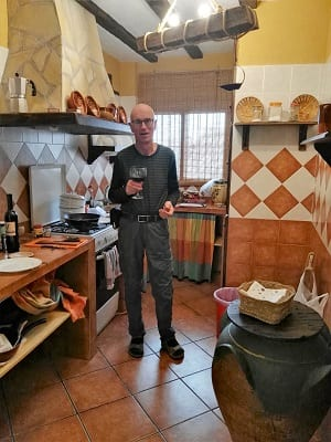 Manfred cooking in our Cortijo kitchen, Sierra Magina, Spain