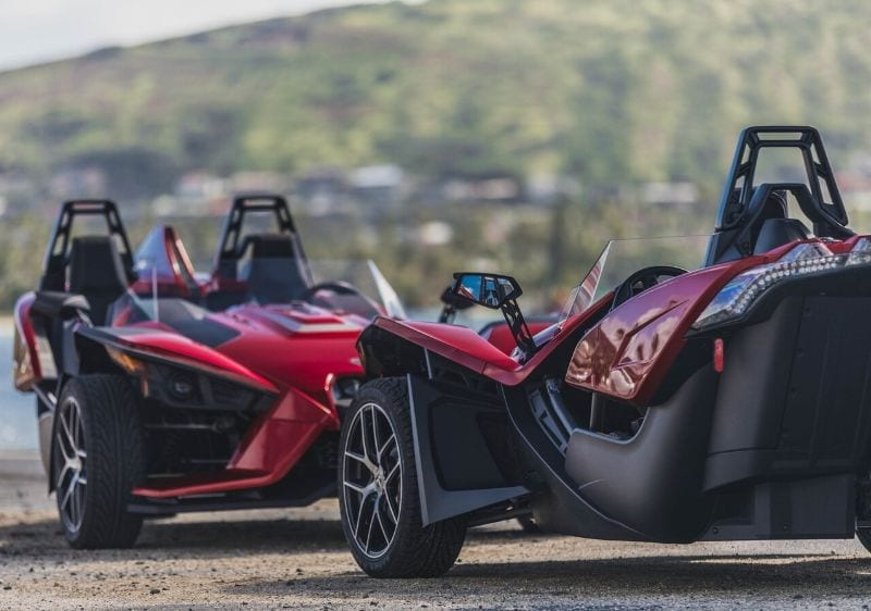 parked Polaris Slingshots