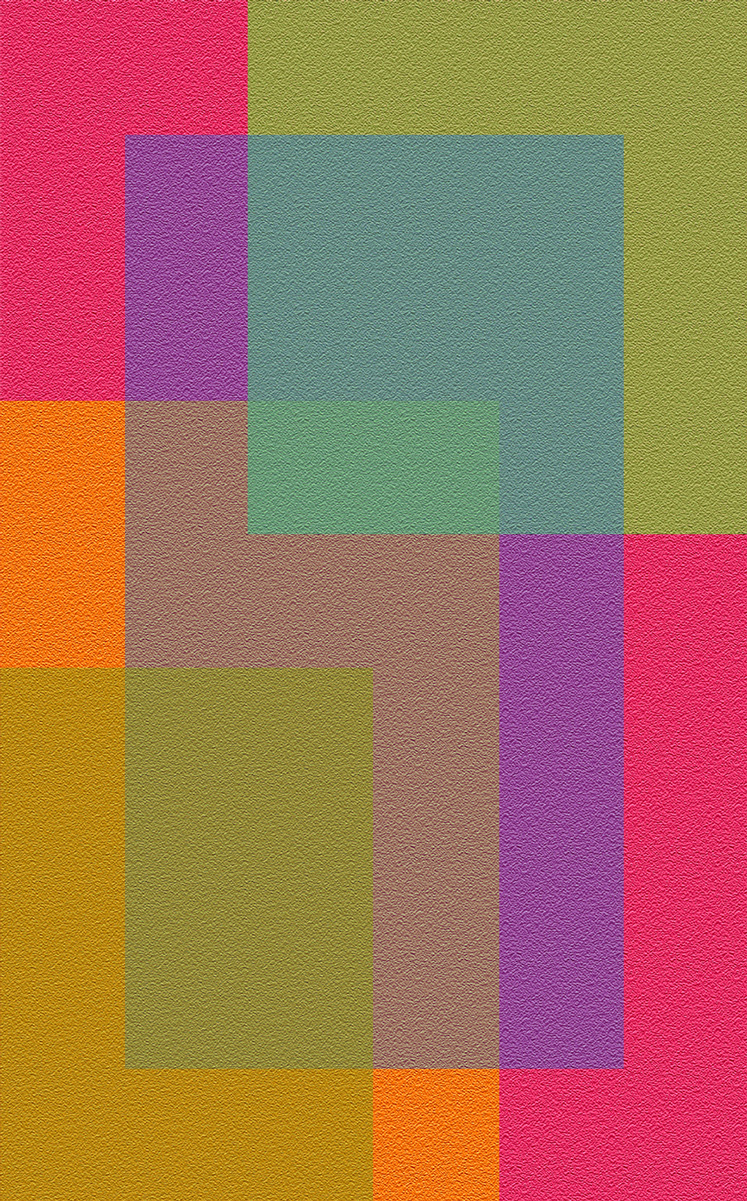 Digital artwork with overlapping translucent rectangles of fuchsia, purple, orange, yellow, and green