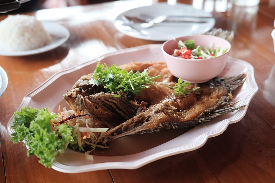 Deep Fried Fish with spicy salad