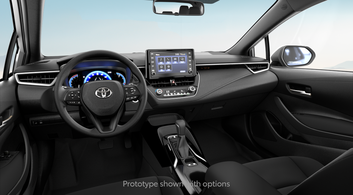 2020 Toyota Corolla Hybrid LE in ALL BLACK FABRIC interior, with code FB20