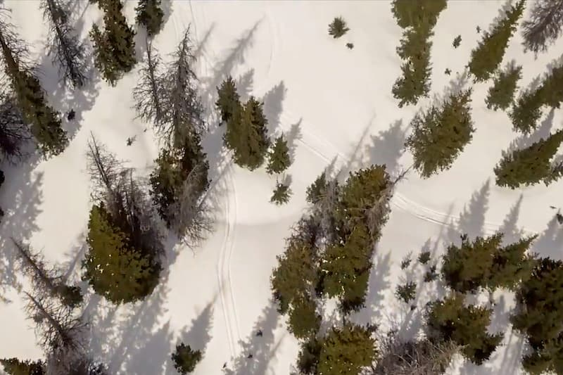 Aerial shot of snowmobile trails