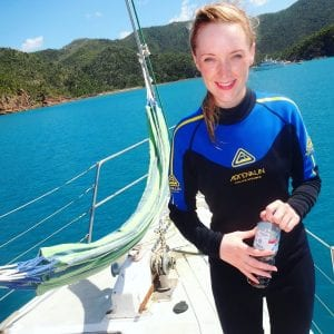 Lolly on a boat ready to go snorkelling