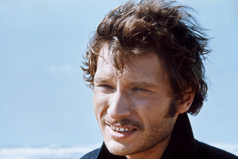 "Johnny Hallyday sur le tournage du film ""Point de chute"" de Robert Hossein en 1970."