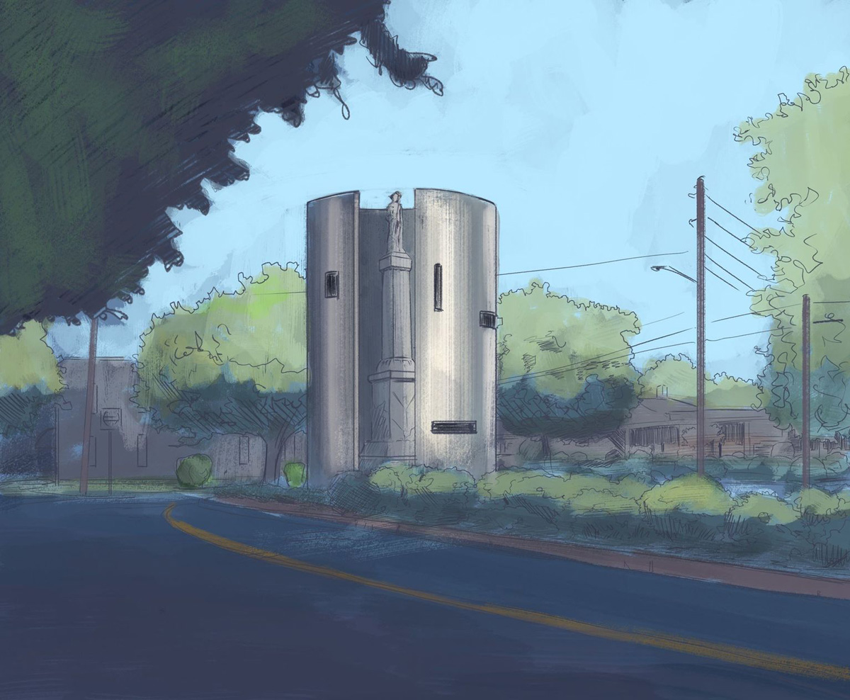 Illustration of cylindrical steel monument surrounding existing stone monument on a tree-lined street
