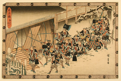 Utagawa Hiroshige, Breaking into Moronao's Mansion During the Night Attack.