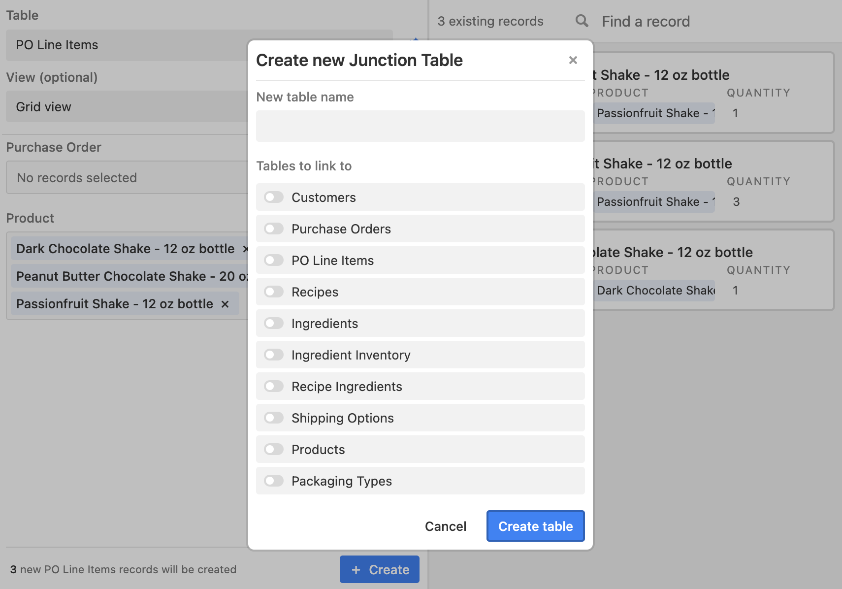 Create Junction Table dialog