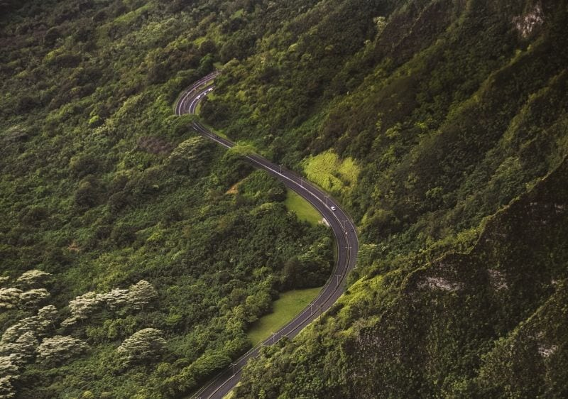 aerial view of a curvy road
