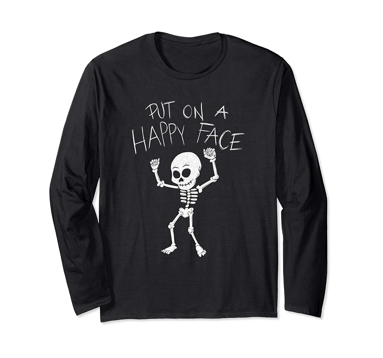 T-Shirt: Dancing Skelett Put On A Happy Face Dab Halloween Langarmshirt