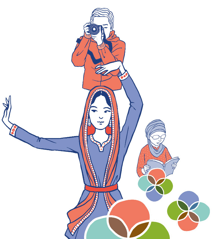 Three illustrated figures dancing, reading and holding a camera