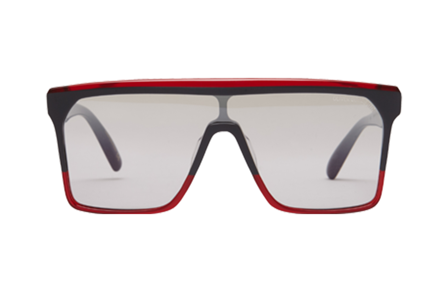 Lunettes de soleil 1990's - Slate & Coulis, Oliver Goldsmith, Rectangle , de couleur Rouge Noir.